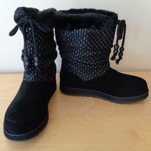 NEW SKECHERS Keepsakes Black Metallic Suede Boots